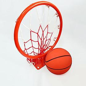 Vành bóng rổ 35cm + quả bóng rổ số 5 tặng kèm kim bơm và lưới đựng bóng