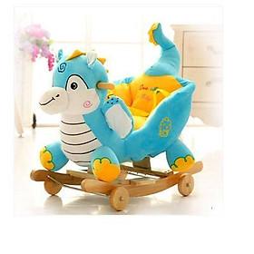 Bập bênh xe kéo thú bông voi xanh