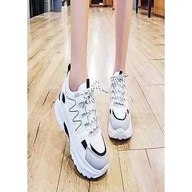 Giày thể thao xương cá phối màu đen trắng
