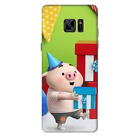 Ốp lưng nhựa cứng nhám dành cho Samsung Galaxy Note FE in hình Heo Con Mừng Sinh Nhật