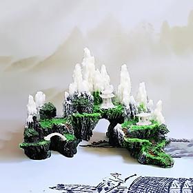 Mô hình núi đá tuyết sơn hang động cây cỏ non bộ lũa bể cá thủy sinh trang trí tiểu cảnh bể cá hồ cá