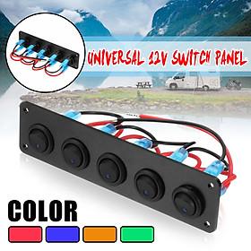 Universal 5 Gang LED Rocker Switch Control Panel 12V 24V Caravan Camper Car Boat Blue