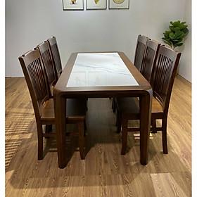 Bộ bàn ăn gỗ sồi 6 ghế mặt bàn đá ma 5