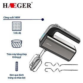 Máy đánh trứng và làm bánh cầm tay nhãn hiệu Haeger HG-6664 5 mức tốc độ đánh, Công suất 500W - Hàng nhập khẩu