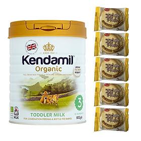 Sữa Nguyên kem công thức hữu cơ KENDAMIL ORGANNIC số 3: ORGANIC TODDLER MILK (800G) ( cho trẻ từ 1-3 tuổi) - Tăng sức đề kháng, tăng cân, phát triển chiều cao và trí não – Tặng 5 bánh quy Nhật Bản hiệu Aee