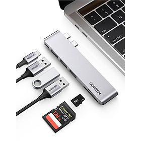 Bộ chuyển đổi macbook pro air 2 cổng USB Type C sang 3x Hub USB 3.0 + SD/TF + nguồn PD màu xám bằng nhôm Ugreen 60560 CM251 Hàng Chính Hãng