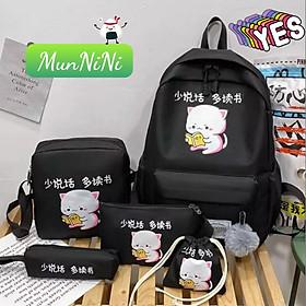 Balo Nữ - Balo Học Sinh Sinh Viên - Combo Balo Nữ 4 Món - ba lô set cặp thời trang Laptop Ulzzang