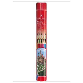 Chì Màu Lục Giác Castell-115826 -12 Màu Dài (Hộp Thiếc Tròn) Faber Castell