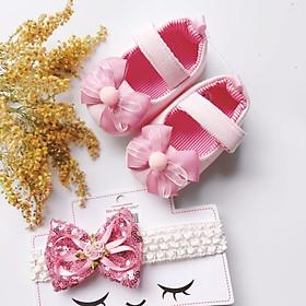 Bộ sản phẩm Giày tập đi + 1 Băng Đô cho bé gái sơ sinh từ 0 - 12 tháng - Quà tặng thôi nôi- Ma03 - màu hồng