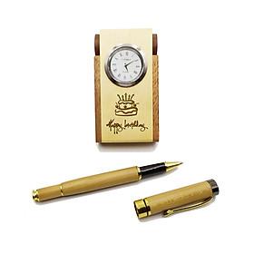 Hộp cắm viết & Bút gỗ cao cấp - Chủ đề sinh nhật