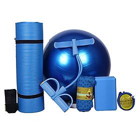 Bộ 5 món thiết bị tập yoga bao gồm thảm yoga dày 10mm + bóng 55cm và bơm hơi cầm tay + 4 dây tập co giãn/ 2 bộ dây tập + khăn + khối xốp cho hoạt động tại nhà
