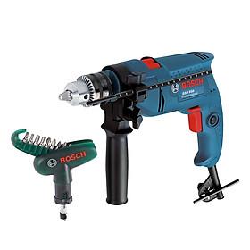Máy khoan động lực Bosch GSB 550 + Bộ mũi vặn vít cầm tay Bosch 10 món