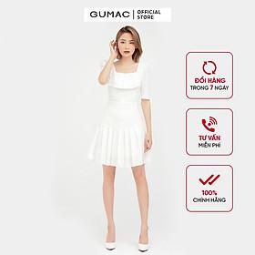 Đầm dáng xòe nữ cổ vuông dập ly GUMAC màu trắng tay lỡ dự tiệc sang trọng DB501