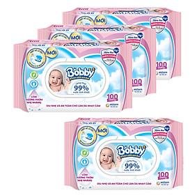 Combo 3 gói Khăn giấy ướt Bobby Care hương thơm nhẹ nhàng 100 tờ (Hồng) + Tặng 1 gói khăn ướt (hồng)