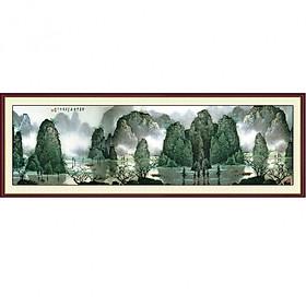 Tranh dán tường 3D vải lụa cao cấp hình núi sông hùng vĩ