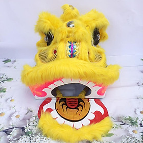 Đầu lân trung thu có đèn cỡ đại 57cm x 54cm x 53cm - Màu vàng