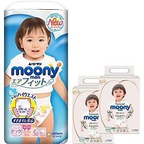 Tã Quần Cao Cấp Moony Nhật Bản bé gái XL38 [Tặng 8 miếng Moony Natural cùng size]
