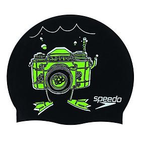 Nón Bơi Trẻ Em Speedo Silicon Junior Slogan Cap 808386A247 (Xanh Dương) 290519 (Size One Size)