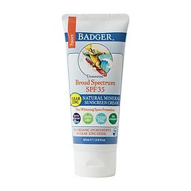 Kem Chống Nắng Thiên Nhiên Thể Thao Badger SPF 35 Clear Sport Sunscreen - Thuần vật lý, phổ rộng broad-spectrum, an toàn cho san hô, 98% thành phần hữu cơ