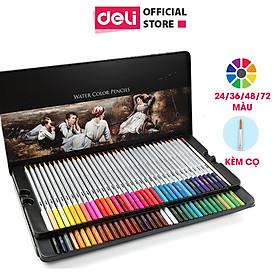 Bút chì màu nước cao cấp Deli - Có kèm cọ tán - Bộ 24/36/48 màu - 6521/6522/6523