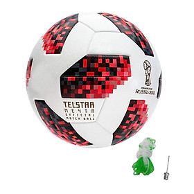 Bóng đá World Cup TELSTAR 2018 số 4 tặng kim bơm bóng + lưới đựng bóng màu đỏ trắng