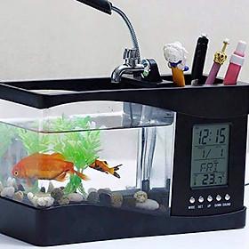 Bể cá mini để bàn có kèm đèn và đồng hồ có ngăn đựng đồ tiện dụng