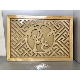 Tấm chống ám khói 3 lớp khung gỗ sồi vàng chữ Phúc Việt - TL05