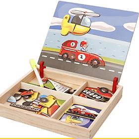 Bộ đồ chơi gỗ ghép hình phương tiện giao thông