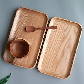 Khay gỗ Tần Bì chữ nhật đựng trà, bánh, khay phục vụ Tần Bì (25cmx15cm)