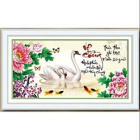 Tranh thêu chữ thập Vợ Chồng Đôi Thiên Nga 223020  (71*40cm) chưa thêu