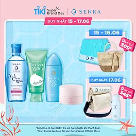 Bộ sản phẩm Senka làm sạch, dưỡng ẩm và chống nắng dành cho da mụn (Tẩy trang White 230ml + Sữa Rửa Mặt Acne 100g + Gel chống nắng Senka UV Gel 80ml + Kem dưỡng trắng da ban đêm Senka Glow Gel Cream 50g)
