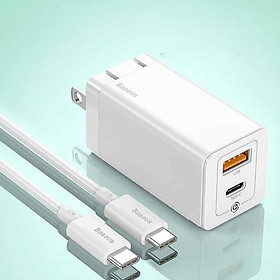 Adapter củ cóc sạc nhanh 45W đa năng USB & PD type c hiệu Baseus GaN Mini Quick Charger chuẩn sạc nhanhPD 3.0 & QC 4.0 tặng dây sạc nhanh Type-C 3A, công nghệ GAN thế hệ 2, chip BPS 2.0 - Hàng nhập khẩu