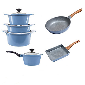 Combo 6 món, nồi đúc ceramic đế từ xanh size 18-20-22-24cm, chảo vân đá ceramic vuông size 20x23cm và tròn size 26cm màu xanh (dùng được tất cả các bếp, kể cả bếp từ)