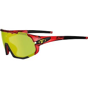 Kính mát thể thao Unisex Tifosi Sledge - Gọng Crystal Red, Bộ 3 Tròng Đạp Chạy: Clarion Yellow, Ac Red & Clear Lenses