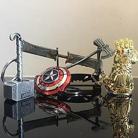 Combo Bộ 5 Móc Khóa Avengers Endgame Gồm Búa Thor, Khiên Captain, Gang Tay Thanos,Búa Riu Thor, Đại Dao Thanos