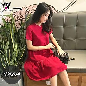 Váy bầu công sở đuôi cá đỏ cúc thật