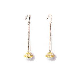 Bông tai khuyên tai bạc S926 dáng dài đá Cz hoa vàng