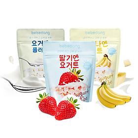 Combo 3 gói sữa chua hoa quả sấy lạnh Bebedang - Vị dâu,chuối,sữa chua