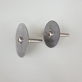 2 đĩa cắt răng lưỡi cưa dùng cắt gỗ nhựa meca đường kính 50mm và 60mm + 1 cán