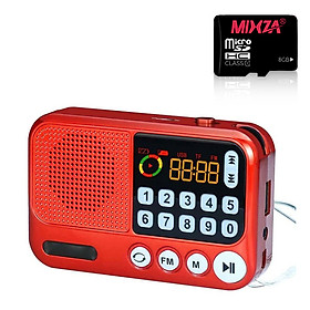 Đài radio kiêm loa nghe nhạc mini - Kèm Thẻ Nhớ S99 hỗ trợ TF, usb, jack 3.5