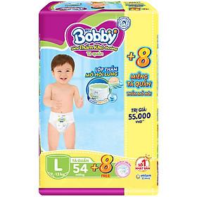 Tã Quần Bobby - Đệm Lưng Thấm Mồ Hôi L54 (54 Miếng) - Tặng 8 Miếng Trong GóI