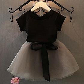 Bộ Váy Ngắn Tay Và Chân Váy Vải Tuyn Cho Trẻ Em, Bộ 2 Chiếc Áo Phông Và Váy Cho Bé Gái Từ 1-6 Tuổi