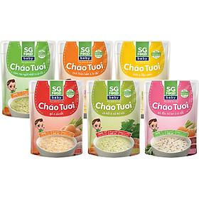 Lốc 6 - Cháo Tươi Baby Sài Gòn Food 240g, Gà, Thịt Bằm, Bò, Tôm, Lươn, Cá Hồi