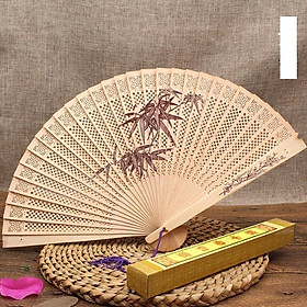 Quạt trúc cầm tay quạt phong cách cổ trang Trung Quốc in hoa trang trí quạt cổ trang mẫu lá trúc tặng ảnh thiết kế Vcone