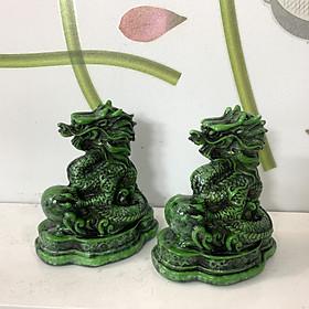 Combo 2 Tượng Đá Trang Trí Thanh Long Phong Thủy - Đá Composite - Size nhỏ để bàn - Chiều cao 11cm