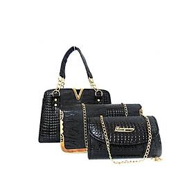 Hình đại diện sản phẩm Bộ 3 túi xách và ví quai chuông nữ da vân cá sấu V71Đe - Màu đen (Gồm 2 túi và 1 ví)