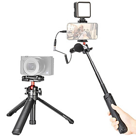 Ulanzi MT-41 Mini Desktop Tripod 4 Sections Extendable Handle Grip with Phone Clip Cold Shoe Mount Rotatable Ball Head