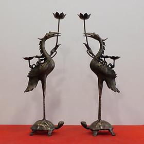 Đôi Hạc Bằng Đồng Hun giả  Cổ cao 55cm