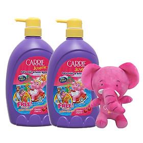 Combo 2 chai tắm gội toàn thân cho trẻ Carrie Junior Hương Cherry (700g*2)+ Tặng kèm 1 Voi bông xinh xắn