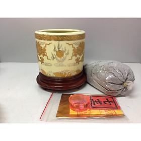 Bát hương thờ ( gốm sứ bát tràng cao cấp)  combo cả bộ đế gỗ và cốt thất bảo + tro đủ bát